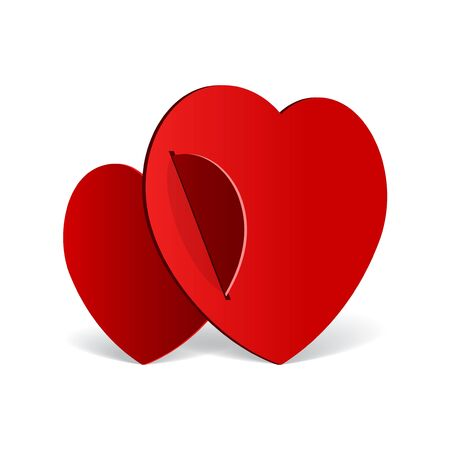 Realistic two Red Heart cut out of paper  Valentine s day or Wedding background Vector