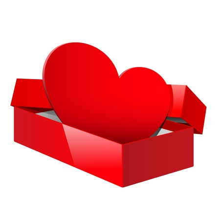 Realistic Red Package Box Opened with a red heart inside Vector
