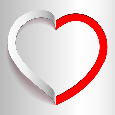 Realistic Heart cut out of paper  Valentine s day or Wedding background Vector
