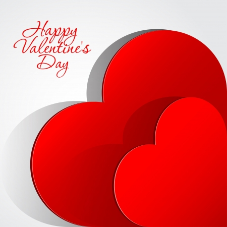 Realistic two Red Heart cut out of paper  Valentine s day or Wedding background Stock Vector - 17180439