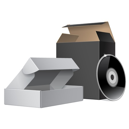 Two Package Box Opened with DVD Or CD Disk  For Software, electronic device and other products Vector