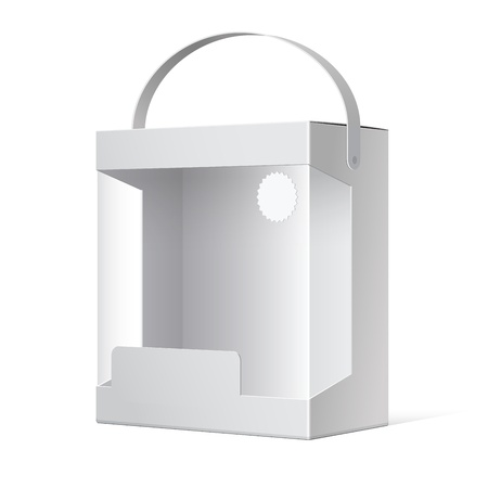 blank box: Light Realistic Package Cardboard Box with a handle and a transparent plastic window illustration