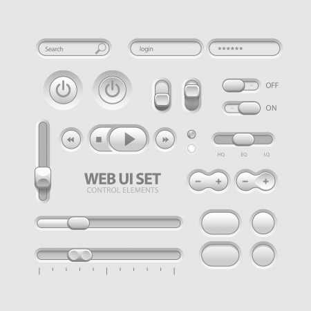 Light Web UI Elements Design Gray  Elements  Buttons, Switchers, Slider Illustration