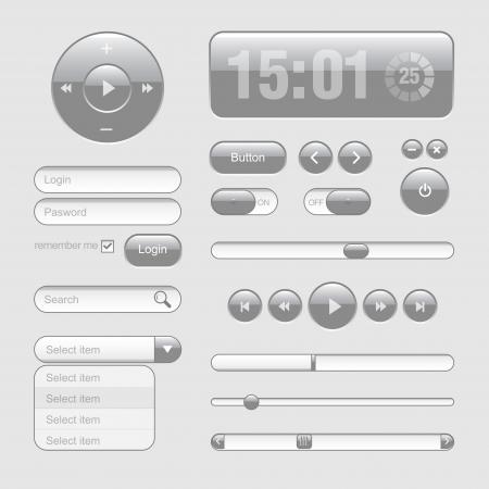 Light Web UI Elements Design Gray  Elements  Buttons, Switchers, Slider Stock Vector - 17962319