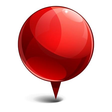 Glanzende gloss rode Kaartwijzer pictogram Vector illustratie