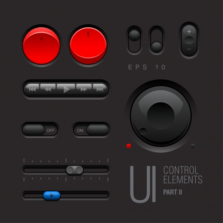 Dark Web UI Elements  Buttons, Switches Stock Vector - 17962322