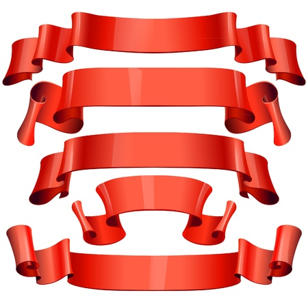 red Glossy vector ribbons on a white background Stock Vector - 17962309