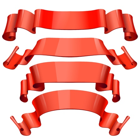 red Glossy vector ribbons on a white background for your design project Stock Vector - 18180277