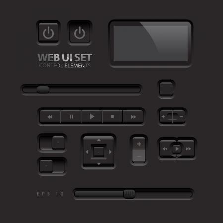 botones musica: Black Web Elementos de interfaz de usuario Botones, interruptores, botones, barras de energ�a, ilustraci�n vectorial deslizadores