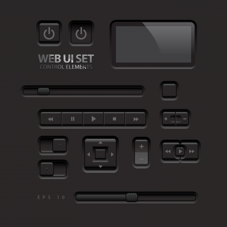 navigation bar: Black Web UI Elements  Buttons, Switches, bars, power buttons, sliders  Vector illustration Illustration