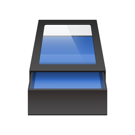 Realistic Black Package Sliding Box Opened with transparent plastic window  For small items, matches, and other things  Vector Vector