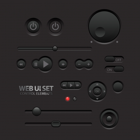 slider: Dark Web UI Elements  Buttons, Switches, bars, power buttons, sliders  Vector illustration