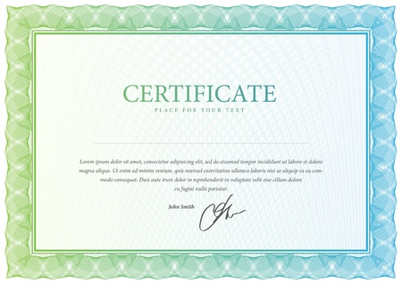 certificate template: Certificate  Vector pattern that is used in currency and diplomas
