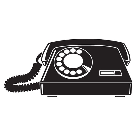 locution: Old telephone 60-80 s  Black and white illustration Illustration