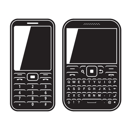 Modern mobile set phone with QWERTY keyboard  Black and white illustration Vector