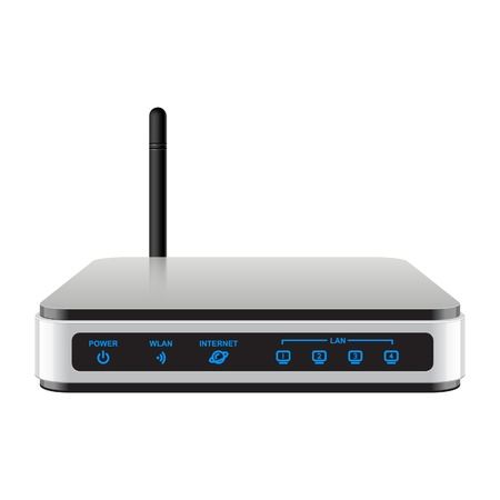 wireless lan: Cool Realisti Wireless Router with the antenna  Signs on a separate layer Illustration