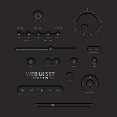 the switch: Black Web Elementi di interfaccia pulsanti, interruttori, pulsanti, barre di alimentazione, dispositivi di scorrimento illustrazione