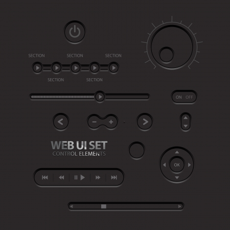 Black Web UI Elements  Buttons, Switches, bars, power buttons, sliders illustration Vector