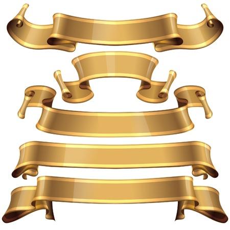 Realistas cintas brillantes del oro con una banda para su proyecto de diseño