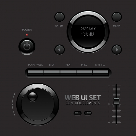 Dark Shiny Web UI Elements  Buttons, Switches, bars, power buttons, sliders  Part two  illustration Vector