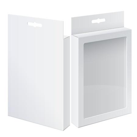 pantimedias: Realista Dos caja de cartón del paquete fresco con ventana de plástico transparente frontal y trasero para pantimedias