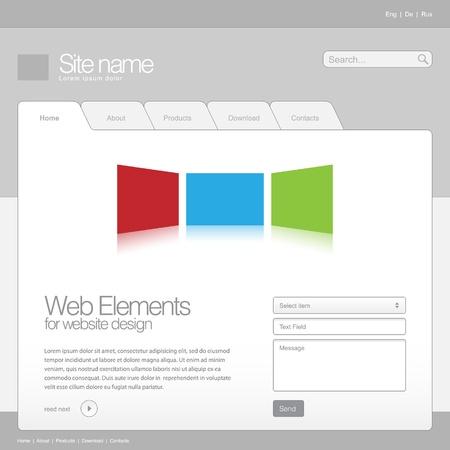Gray Website Template 960 Grid Stock Vector - 20233462