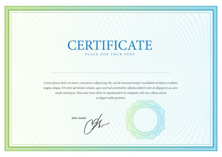 Certificate  Vector pattern for currency, diplomas Ilustrace