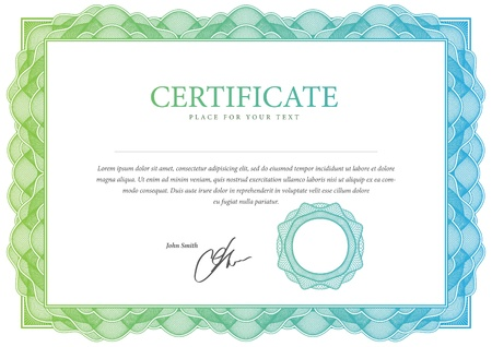stock illustration: Certificate  Vector pattern for currency, diplomas Illustration