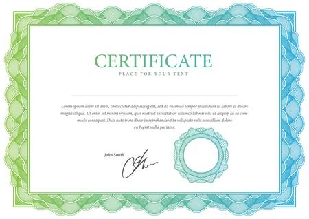 certificado: Vector patr�n Certificado de moneda, diplomas