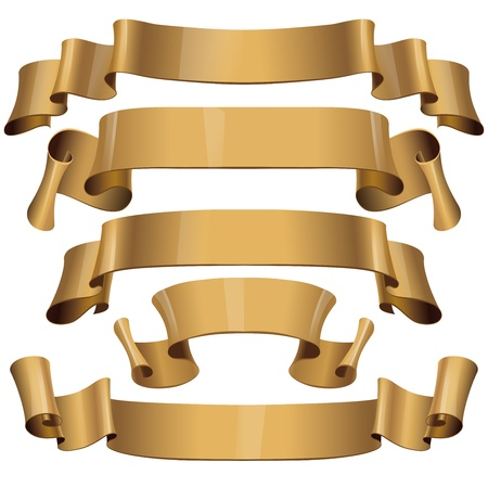 burnt edges: Gold Glossy vector ribbons on a white background Illustration