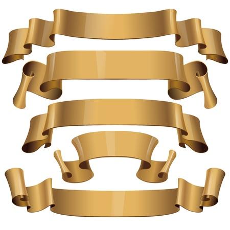 Rubans vecteur d'or brillant sur un fond blanc Banque d'images - 20233470
