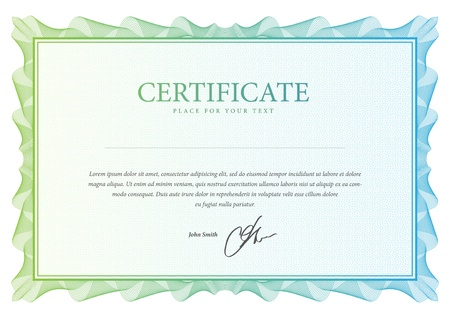 certificate: Certificate  Vector pattern that is used in currency and diplomas