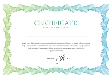 certificate template: Certificate  Vector template that is used in currency and diplomas Illustration