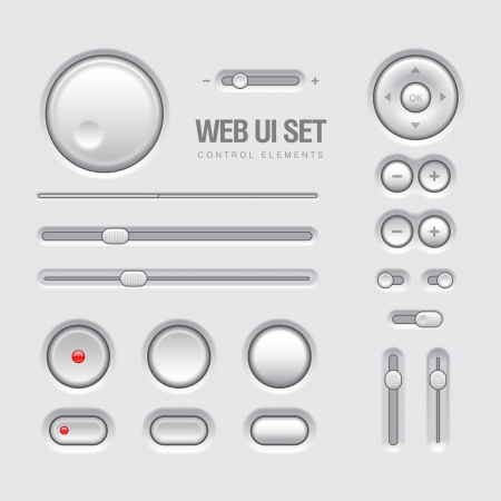 Light Web UI Elements Design Gray  Elements  Buttons, Switchers, Slider Vector