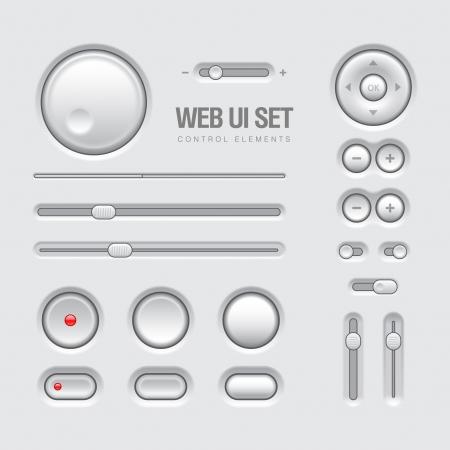 Light Web UI Elements Design Gray  Elements  Buttons, Switchers, Slider Ilustrace