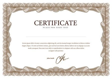 Certificate. Vector pattern that is used in currency and diplomas 向量圖像