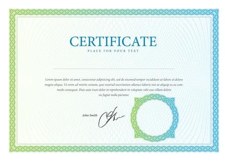 Certificato. Vector modello che viene utilizzato in valuta e diplomi Archivio Fotografico - 20985812