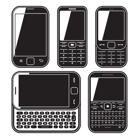 qwerty: Modern mobile phone set. With QWERTY keyboard, Touchscreen and slider. design concept Black and white vector icon Illustration
