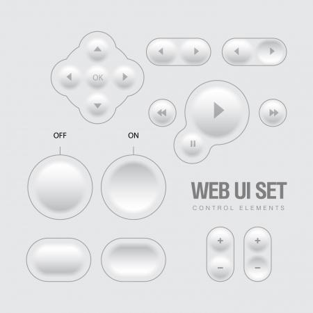 Light Web UI Elements Design Gray  Elements  Buttons, Switchers, Slider Stock Vector - 21527501