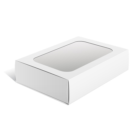 plastic box: Light Realistic Package Cardboard Box with a transparent plastic window  Vector illustration