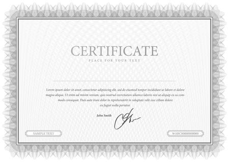 通貨と卒業証書の灰色のベクトル パターンが証明書を使用します。