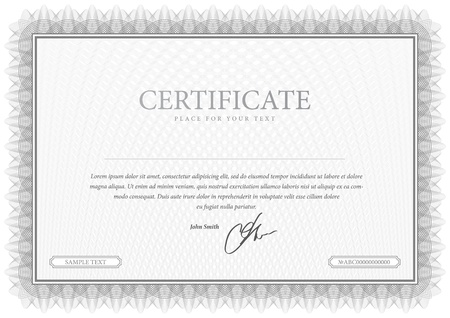 certificate template: Certificate  Grey Vector pattern that is used in currency and diplomas