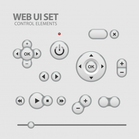 Light Web UI Elements Design Gray. Elements: Buttons, Switchers, Slider Stock Vector - 22712746