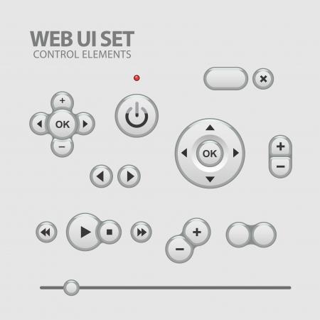 Light Web UI Elements Design Gray. Elements: Buttons, Switchers, Slider