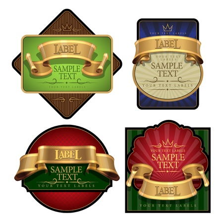 sustained: elegant Wine Label set with a gold ribbon. Vector illustration Illustration
