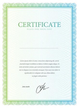 certificate design: Template certificate, currency and diplomas. Vector illustration