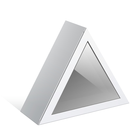 triangular shape: Realistic White Package triangular shape Box. For Software, electronic device and other products. Vector illustration. Illustration