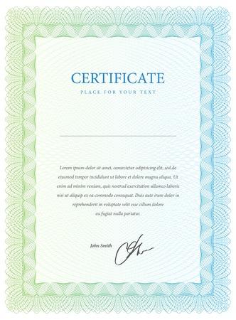 Certificato. Vector modello che viene utilizzato in valuta e diplomi Archivio Fotografico - 22712879