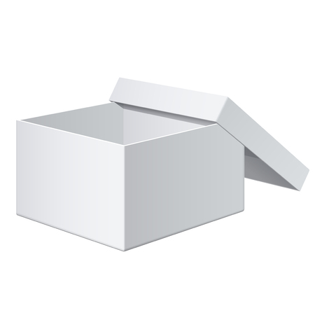 packaging template: Cool Realistic White blank Package Box Opened with the cover removed. For electronic device and other products. Vector illustration