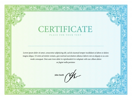 Diplomas frontera de la plantilla, el certificado y la moneda. Ilustración vectorial Foto de archivo - 22713238